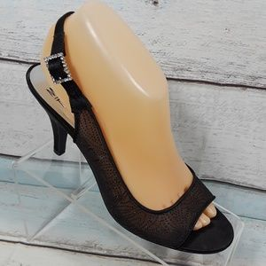 MootsiesTootsies Black Mesh Slingback Sandals 8.5